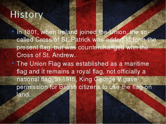 In 1801, when Ireland joined the Union, the so-called Cross of St. Patrick wa...