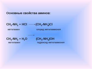 Основные свойства аминов: CH3-NH2 + HCl (CH3-NH3)Cl метиламин хлорид метиламм