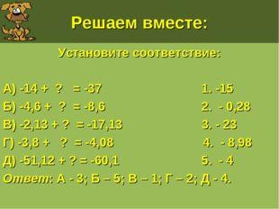 Решаем вместе: Установите соответствие: А) -14 + ? = -37 1. -15 Б) -4,6 + ? =
