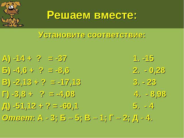 Решаем вместе: Установите соответствие: А) -14 + ? = -37 1. -15 Б) -4,6 + ? =...