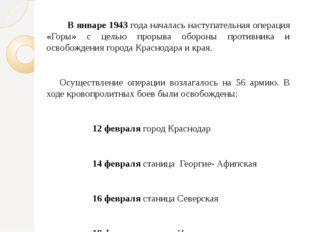 В январе 1943 года началась наступательная операция «Горы» с целью прорыва об
