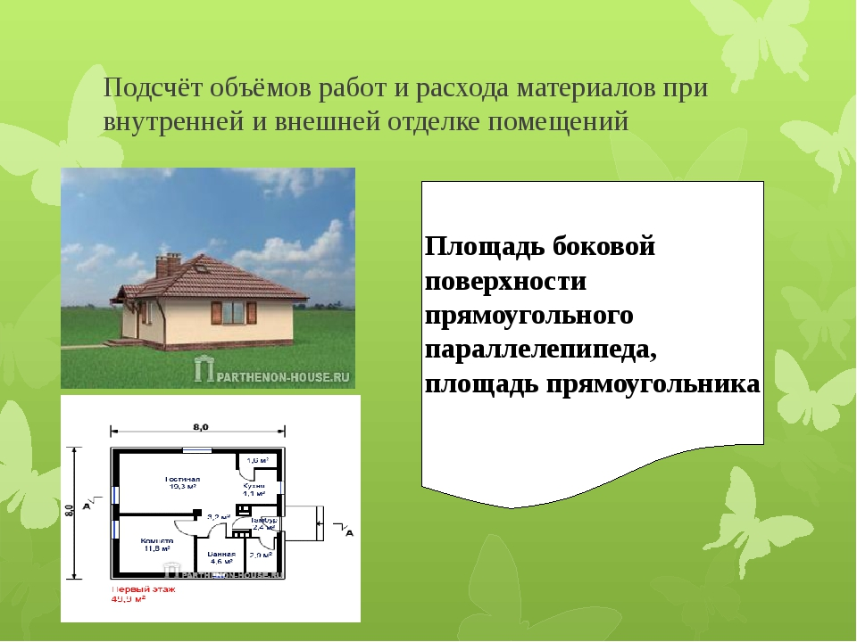 Подсчёт объёмов работ и расхода материалов при внутренней и внешней отделке п...