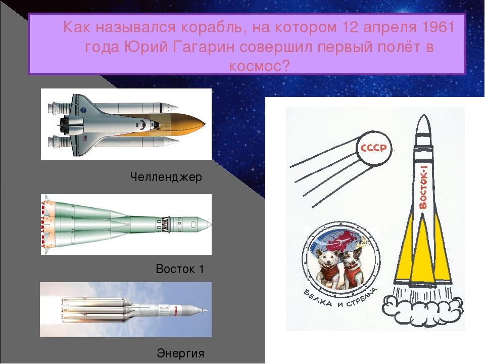 Как назывался корабль, на котором 12 апреля 1961 года Юрий Гагарин совершил п...