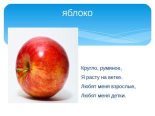 яблоко Кругло, румяное, Я расту на ветке. Любят меня взрослые, Любят меня дет