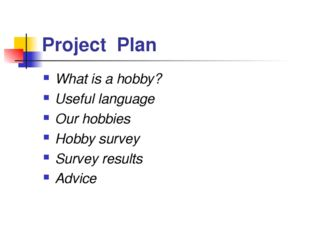 Project Plan What is a hobby? Useful language Our hobbies Hobby survey Survey