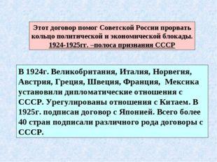 Этот договор помог Советской России прорвать кольцо политической и экономичес
