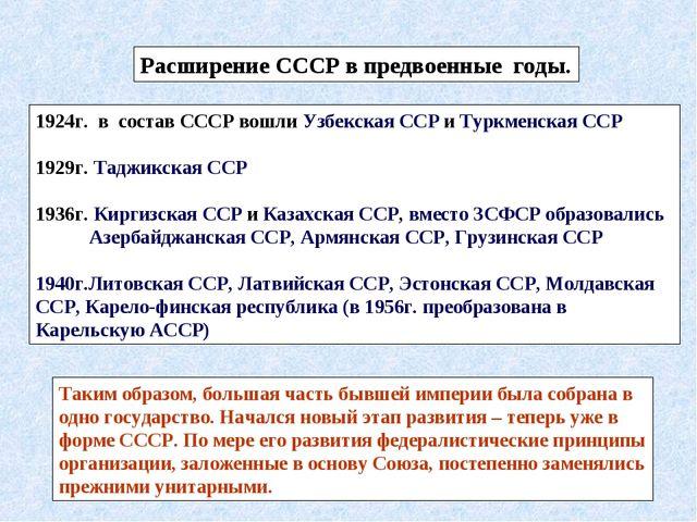 Расширение СССР в предвоенные годы. 1924г. в состав СССР вошли Узбекская ССР...