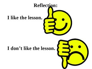 Reflection: I like the lesson. I don't like the lesson.
