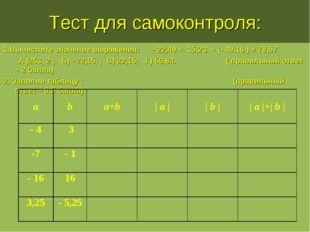 Тест для самоконтроля: 1.Вычислите значение выражения: – 22,49 + 15,23 + (- 4