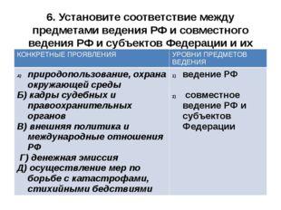 6. Установите соответствие между предметами ведения РФ и совместного ведения