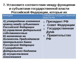 7. Установите соответствие между функциями и субъектами государственной власт