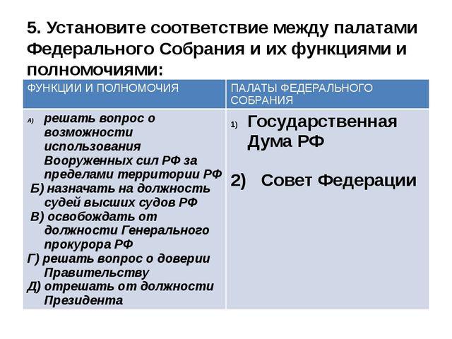 5. Установите соответствие между палатами Федерального Собрания и их функциям...