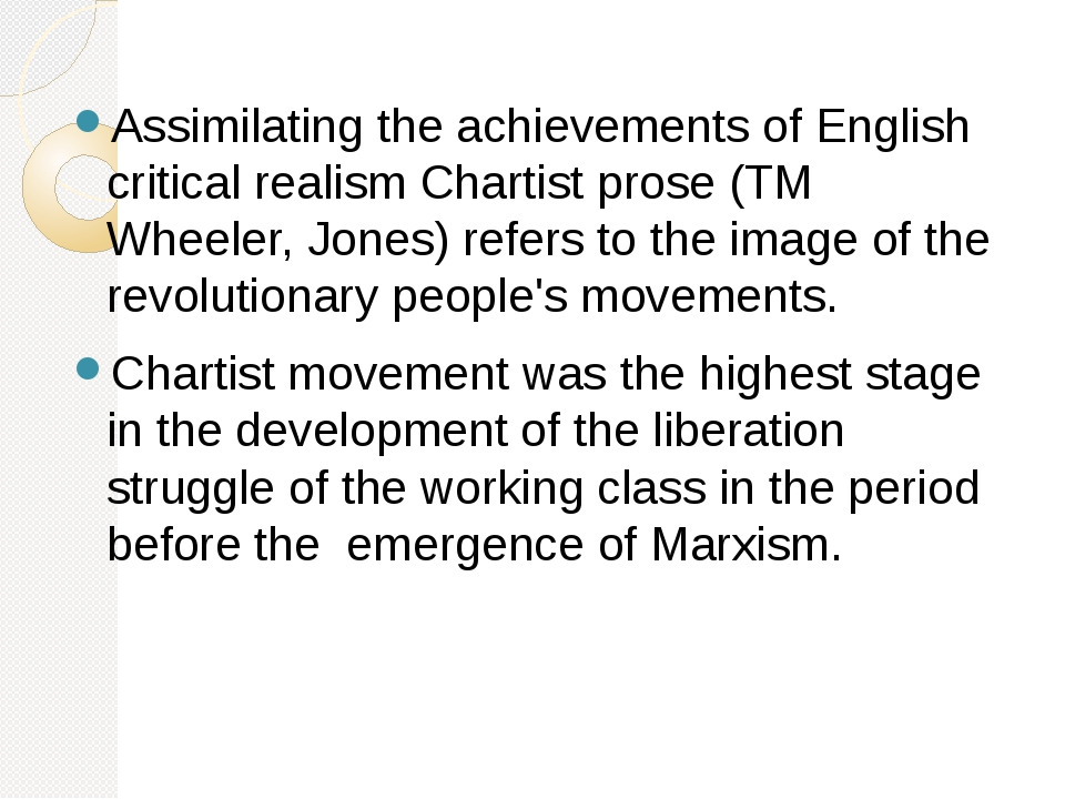 Assimilating the achievements of English critical realism Chartist prose (TM...