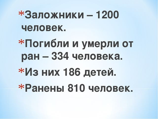 Заложники – 1200 человек. Погибли и умерли от ран – 334 человека. Из них 186...