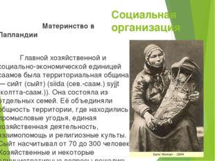 Социальная организация Материнство в Лапландии Главной хозяйственной и социал