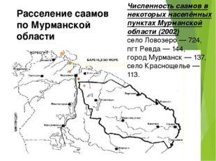 Расселение саамов по Мурманской области Численность саамов в некоторых населё
