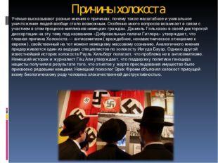 Причины холокоста Учёные высказывают разные мнения о причинах, почему такое м