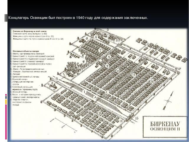 Концлагерь Освенцим был построен в 1940 году для содержания заключенных.