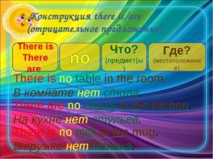 Конструкция there is/are (отрицательное предложение) There is There are Что?