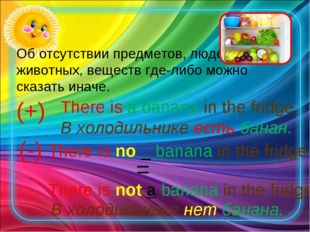 (+) There is a banana in the fridge. В холодильнике есть банан. (-) There is