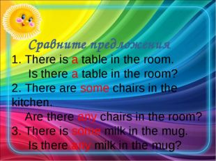 Сравните предложения 1. There is a table in the room. Is there a table in th