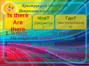 Конструкция there is/are (вопросительное предложение) Is there Are there Что