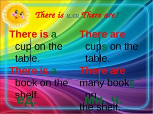 There is или There are? There is a cup on the table. There is a book on the s