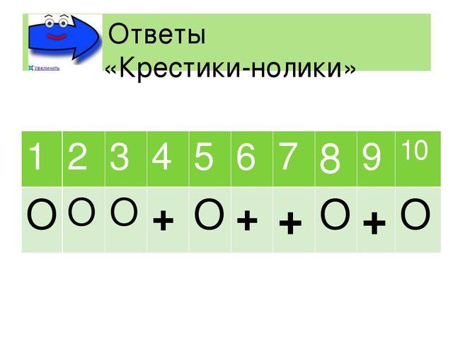 Ответы «Крестики-нолики» 1 2 3 4 5 6 7 8 9 10 О О О + О + + О + О