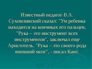 """Известный педагог В.А. Сухомлинский сказал: """"Ум ребенка находится на кончиках"""