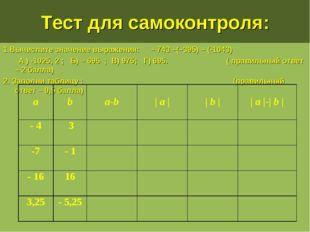 Тест для самоконтроля: 1.Вычислите значение выражения: – 743 –(–395) – (-1043