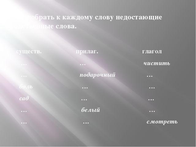 3. Подобрать к каждому слову недостающие родственные слова. существ. прилаг....