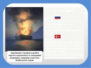 Силы сторон: Русские Командующий – П.С. Нахимов, Младший флагман – Ф.М. Новос