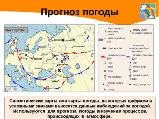 Прогноз погоды Синоптические карты или карты погоды, на которых цифрами и усл