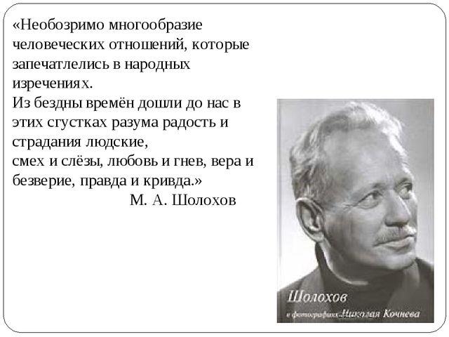 «Необозримо многообразие человеческих отношений, которые запечатлелись в наро...