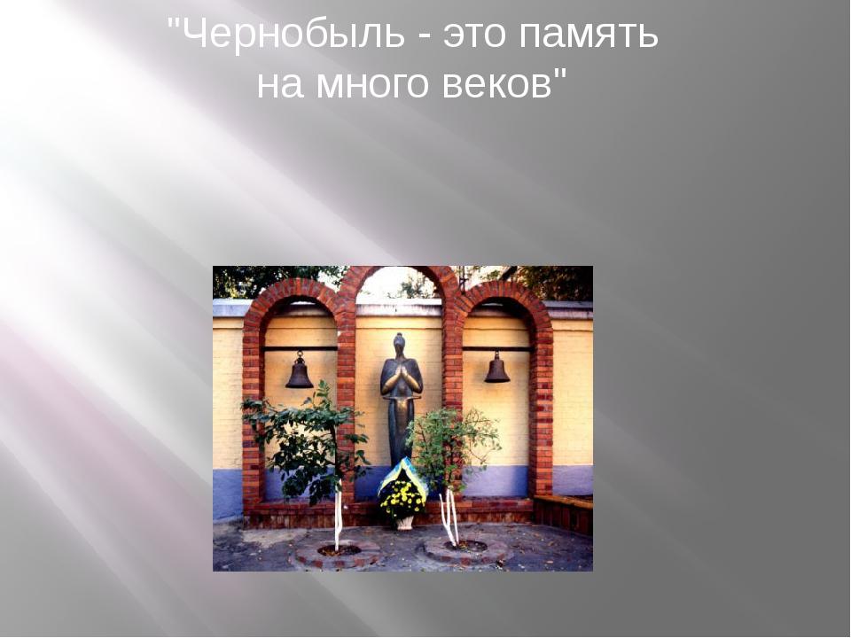 """""""Чернобыль - это память на много веков"""""""
