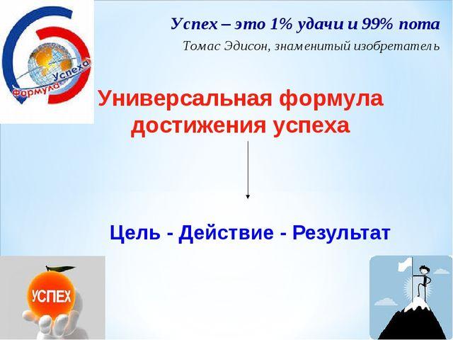 Цель - Действие - Результат Успех – это 1% удачи и 99% пота Томас Эдисон, зна...