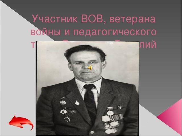 Участник ВОВ, ветерана войны и педагогического труда Рощупкин Василий Иванови...