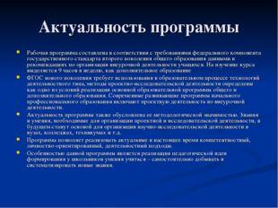 Актуальность программы Рабочая программа составлена в соответствии с требован