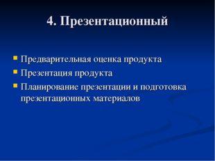 4. Презентационный Предварительная оценка продукта Презентация продукта Плани
