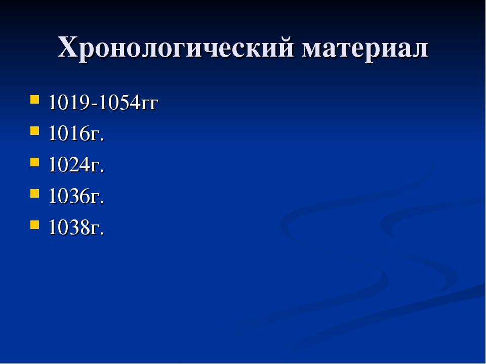 Хронологический материал 1019-1054гг 1016г. 1024г. 1036г. 1038г.