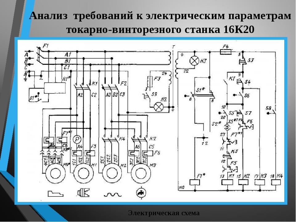 Анализ требований к электрическим параметрам токарно-винторезного станка 16К2...