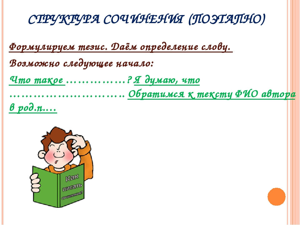 СТРУКТУРА СОЧИНЕНИЯ (ПОЭТАПНО) Формулируем тезис. Даём определение слову. Воз...