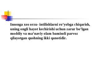 Insonga xos orzu- intilishlarni ro'yobga chiqarish, uning ongli hayot kechir