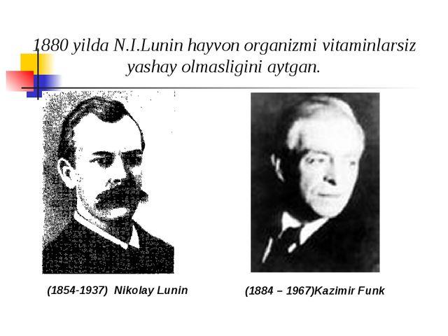 1880 yilda N.I.Lunin hayvon organizmi vitaminlarsiz yashay olmasligini aytga...
