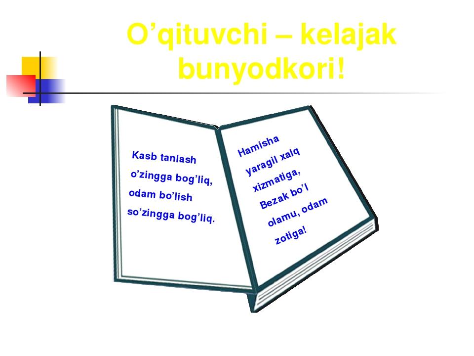 O'qituvchi – kelajak bunyodkori! Kasb tanlash o'zingga bog'liq, odam bo'lish...