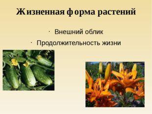 Жизненная форма растений Внешний облик Продолжительность жизни