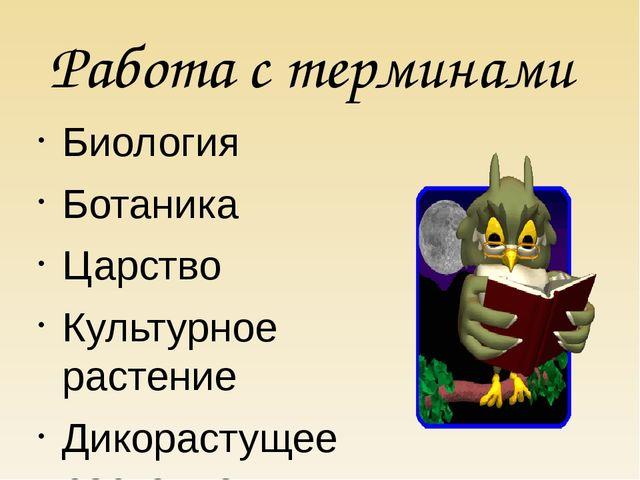 Работа с терминами Биология Ботаника Царство Культурное растение Дикорастущее...