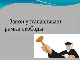 Закон устанавливает рамки свободы