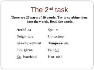 The 2nd task There are 20 parts of 10 words. Try to combine them into the wor