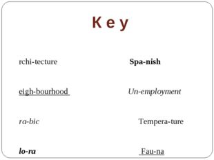 К е у Archi-tecture Spa-nish Neigh-bourhood Un-employment Ara-bic Tempera-tur